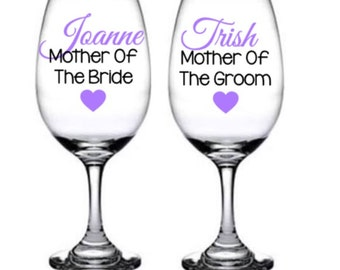Mother Of The Bride Wine Glass, Mother Of The Groom Wine Glass, Mother of the Groom Gift idea, Mother of the Bride Gift, Wedding Glasses