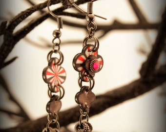 Circus Earrings - Starburst - Quatrefoil - Earrings - Quatrefoil jewelry - Circus Bracelet - Vintage Circus - Shrink plastic art - Unique