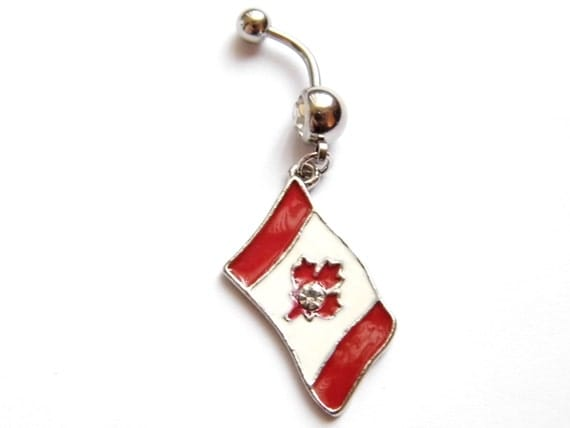 new canada flag maple leaf flag belly button ring curved