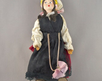 Slovenia Old Vintage Handmade Doll Dressed in Traditional Folk Costume A Unique Collectible