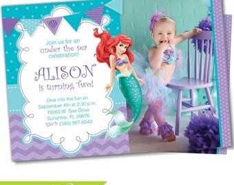 Little Mermaid Invitation, Little Mermaid invite, Ariel invitation, Ariel Invite, Photo invitation, Birthday invitation, Princess Ariel (3)
