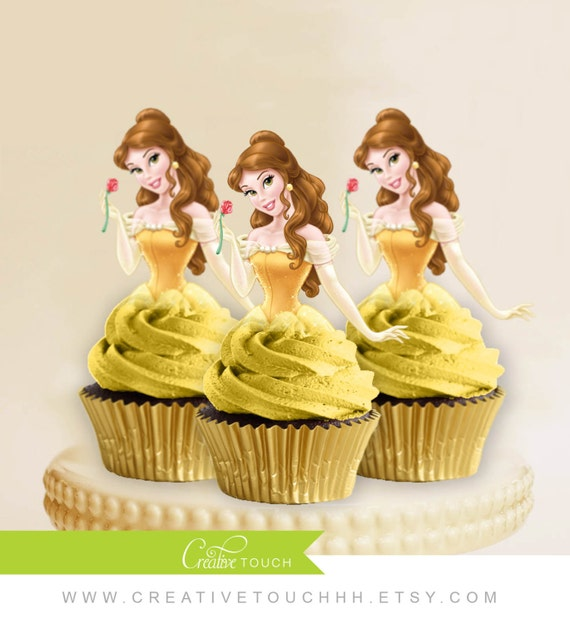 belle cupcake toppers princess belle beauty and the beast disney princess belle birthday. Black Bedroom Furniture Sets. Home Design Ideas