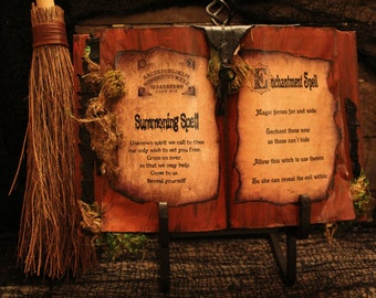 "Halloween Spell Book, ""Summoning Spell"" & ""Enchantment Spell"", Halloween Decor, Spells, Halloween Prop, One-Of-A-Kind, Haunted Moon Emporium"