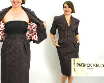 Patrick Kelly 90s Grey Pinstripe Suit | Jacket & Pencil Skirt, Medium