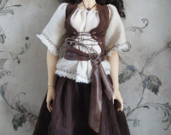 Fantasy Peasant Outfit for Female Delf, Super Dollfie, Feeple 60 and similiar sized dolls
