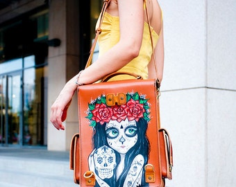 Leather transformer backpack, Catrina print