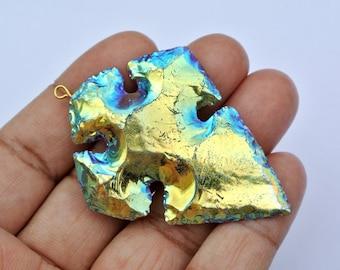 Mystic Rainbow Titanium Coated Cross Arrowhead Pendant Size 61x43mm Approx Rainbow Arrowhead, authentic arrowhead