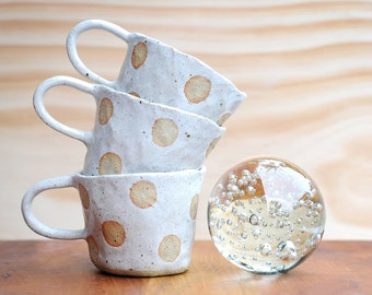 LUNA MUG - Hand Built - Speckled Stoneware - Milky White Glaze - Made to order - Free Postage Australia Wide