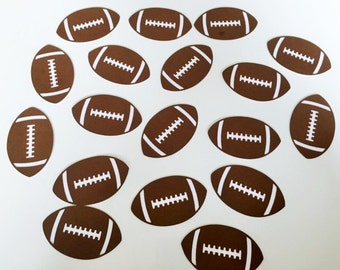 "Football Die Cuts (2.5"" wide) - Football Party Decor - Superbowl Party - Football Confetti - Kids Party Decor"