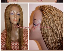 Handmade Glueless Micro Braided Lace Front Wig Tiny Senegalese Twist 27/27F 22""