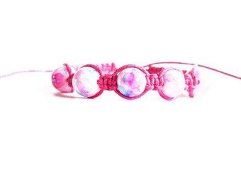 Beaded Bracelet, Pink Bracelet, Friendship Bracelet, Gifts for Girls Bracelet, Beaded Macrame Bracelet, String Bracelet, Best Friend Gift
