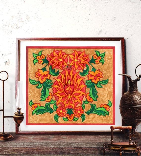 Traditional Ottoman Tulip Watercolor Wall Art Turkish Floral: Ottoman Floral Motif Wall Art Traditional Turkish Oriental