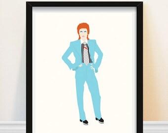 David Bowie - David Bowie Art Print - Life On Mars - Blue Suit - 1970s Glam Rock David Bowie - Minimalist Portrait Art