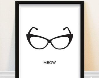Cat Eye Glasses Print - Meow Art Print - Black and White - Retro Wall Art
