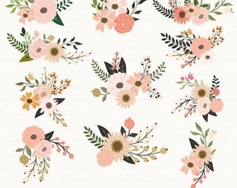Rustic Flowers Clipart. Floral Clipart. Floral Bouquet.