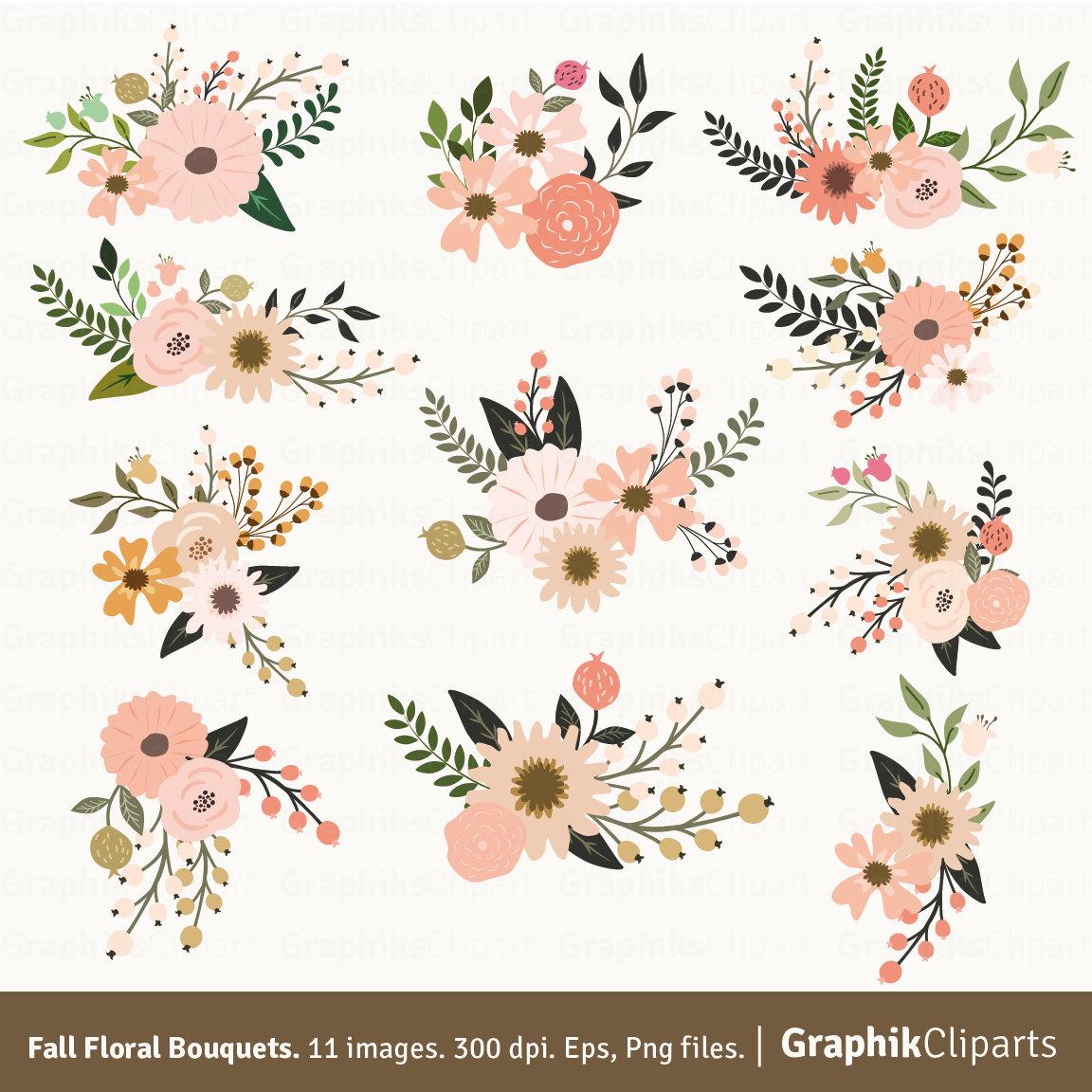 Fall Floral Bouquets Clip Art. Floral Clipart. Floral Bouquet.
