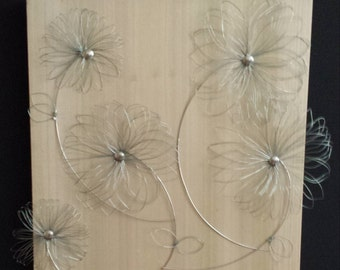Wire Daisies on Wood