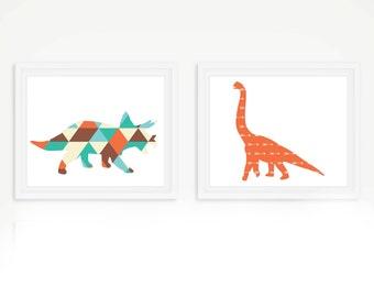 Dinosaur Tribal Art Print Set - Children's Wall Art - Toddler Room Decor - Dinosaur Art - Set of 2