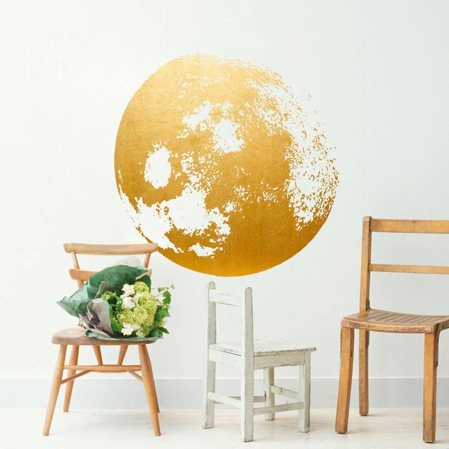 Moon Decal Golden Gold Foil Art Moon Wall Decal Moon