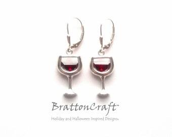 Red Wine Glass Earrings - Red Wine Earrings - Sterling Silver Wine Glass Earrings - Wine Glass Charm Earrings - Wine Lover