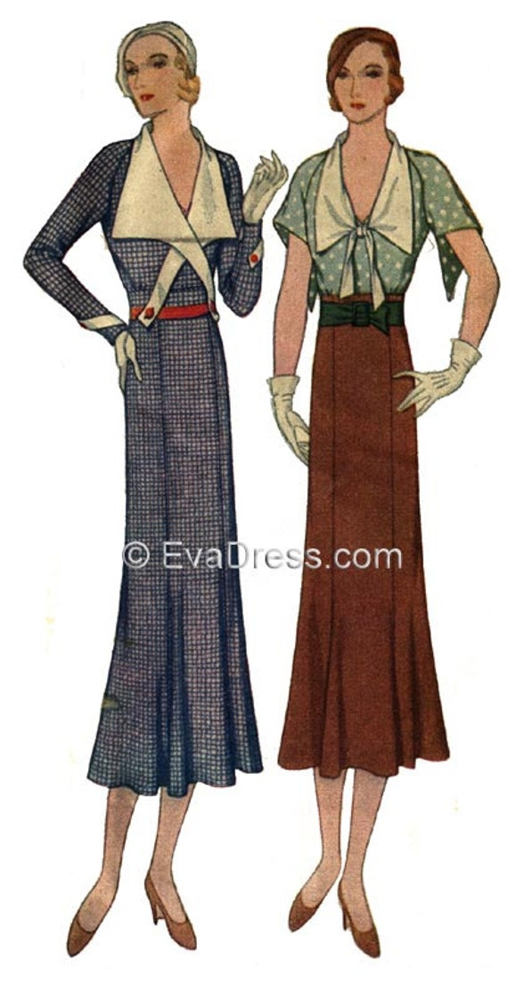 1930s House Dresses 1932 Art Deco Frock Pattern by EvaDress1932 Art Deco Frock Pattern by EvaDress $17.00 AT vintagedancer.com