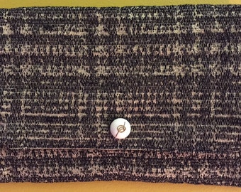 SALE! Envelope clutch purse in black and gold weave.  Great for evening wear or e-reader