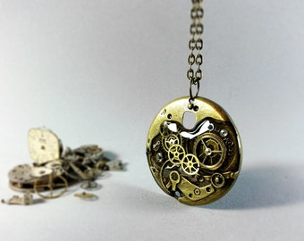 Vintage steampunk necklace, Steampunk pendant, Vintage watch parts, Clockwork necklace, Eco friendly resin, Upcycled steampunk jewelry