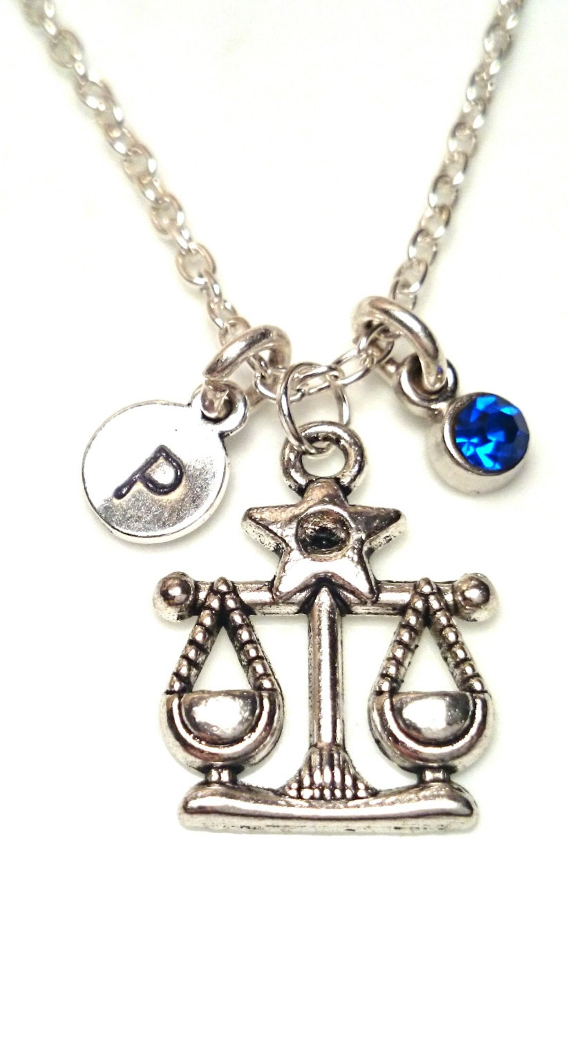 zodiac libra necklace libra initial letter by