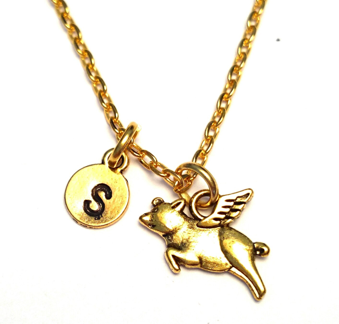 Pig Charm Bracelet: Flying Pig Necklace Flying Pig Jewelry Flying Pig Charm