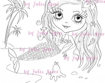 Digital Stamps, Digi, Scrapbooking printable Mermaid stamps, Digital Images Coloring pages, Printable Downloads, Line art. Mermaid & Octopus