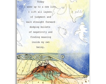 Good Morning, Note Cards - Set of four 5x7 note cards - painting and poem by Claire