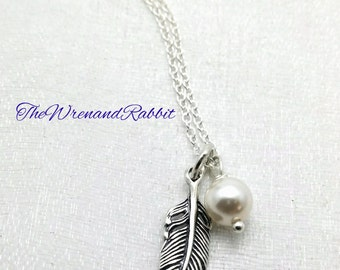 Sterling Feather necklace - single feather pendant - sterling silver feather - Swarovski pearl - tribal necklace - individuality necklace
