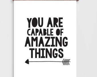 "Inspirational Wall Art Quote Print,  ""Amazing"" Printable Black and White Wall Art Prints,  Motivational Wall Decor"