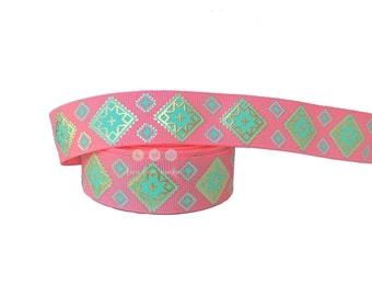 "7/8"" Coral-Pink-Watermelon-Aqua-Gold Foil-Metallic-Geometric-Grosgrain Ribbon by the yard-Hairbow-Gift Wrap-DIY-tribal-trim-gold medallions"