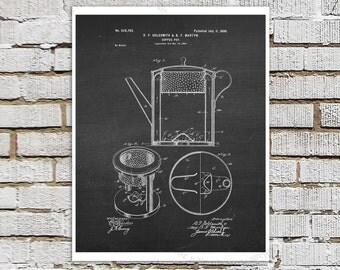 Victorian era Coffee Pot Design Patent print #2 Kitchen Art Decor, Chalkboard Patent art, Coffee wall art, Coffee Poster, Kitchen Wall Decor