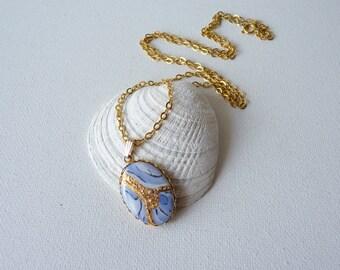 SALE, Vintage Gold Blue Enamel Pendant Necklace, Gold Tone Oval Blue Pendant , Gold Chain Art Deco Necklace, Blue Retro Pendant Circa 70'