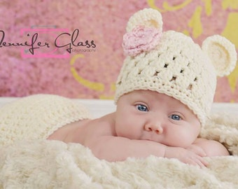 Baby Girl Bear Hat, Crochet Baby Hat, Newborn Girl Hat, Bear Hat, Newborn Photo Prop, Baby Hats for Girls, Baby Girl Beanie, Baby Girl