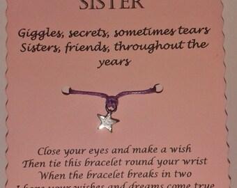 Sister Easter Gift, Sister Wish Bracelet, Sister Bracelet, Charm bracelet, Sister Gift, String Bracelet, Sister Jewelry, Gift for Her