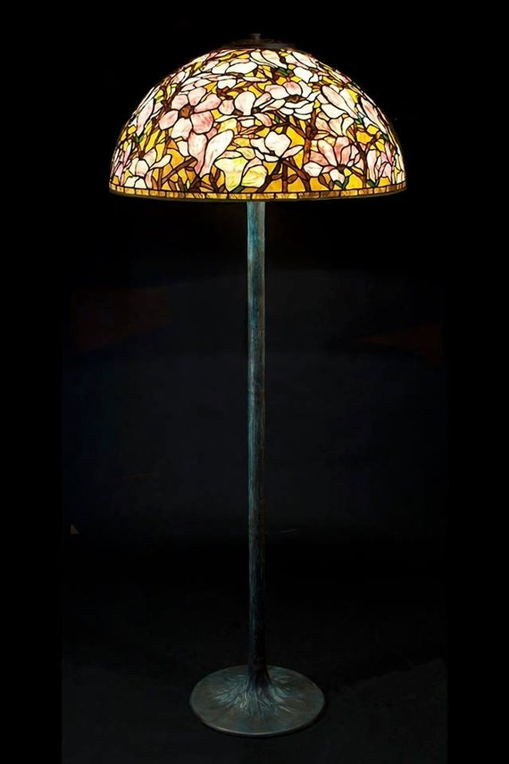 Tiffany floor lamp Magnolia. Big floor stained glass lamp. Classic Tiffany style floor lamp with decorative base.