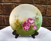 Vintage RS Germany Porcelain Dessert Plates with Roses, Set of 5 Plates, Reinhold Schlegelmilch, Circa 1930s