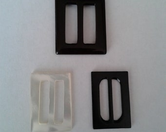 Vintage Black  Bakelite  Belt Buckles  ( 2)   1 Mother of Pearl Belt Buckle