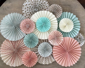 Mint Peach Gold and Cream Fan Backdrop Set of 15 Fans
