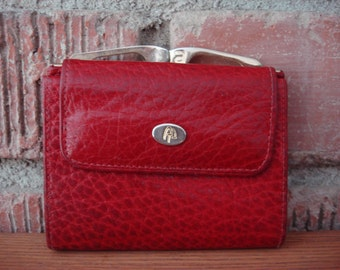 Vintage Red Leather Wallet, Made in Spain, 1960's, Cute Size!