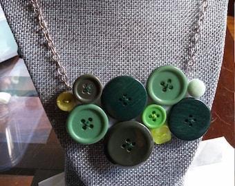 Green Button Bib Necklace
