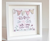 Brodwaith comisiwn genedigaeth baban Unique hand made embroidered birth announcement