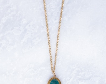 Amazonite and Gold Hammered Coin Necklace