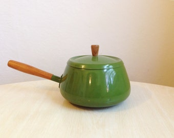 Vintage 1960s Modern Green Enamel Covered fondue Pot, Sauce Pan, Retro Cookware with Teakwood Handle