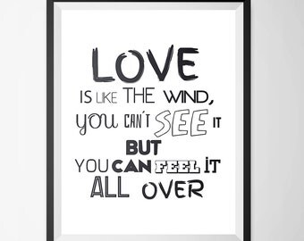 Poster Love is Like a Wind - 3 Digital Posters, Typography wall art, Motivational quotes, Quote poster, Romantic prints, Printable art.