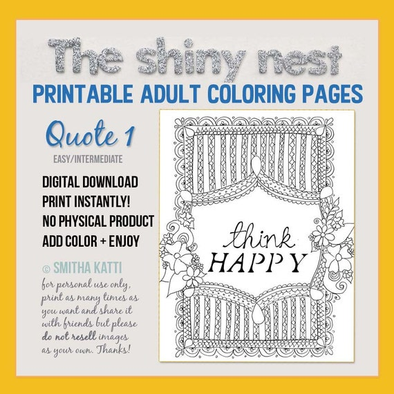 Printable Quote Art Coloring Page Motivational Quote