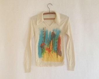 Vintage 70's Parisian graphic sweater. small